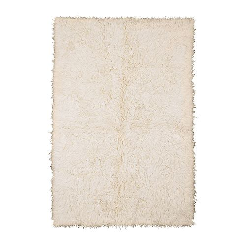 "FLOKATI Rug, high pile, white Length: 6 ' 7 "" Width: 4 ' 7 "" Pile coverage: 2.62 oz/sq ft Max. pile length: 2 ""  Length: 200 cm Width: 140 cm Pile coverage: 800 g/m² Max. pile length: 40 mm"