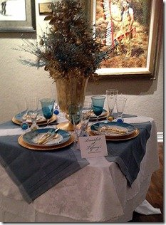 blue, white and gold holiday tabletop