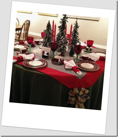 green and red with black and white check table top holiday decor