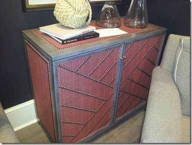 upholstered chest in red fabric and gray paint