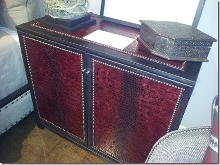 upholstered chest with red vinyl