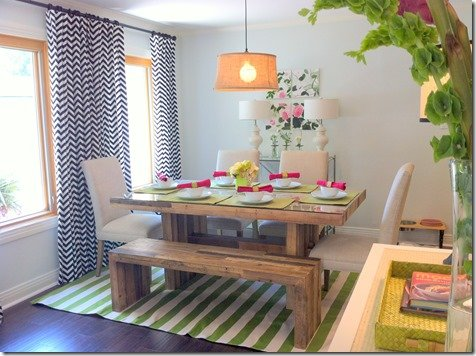 Dining room view with stripes and geometrics