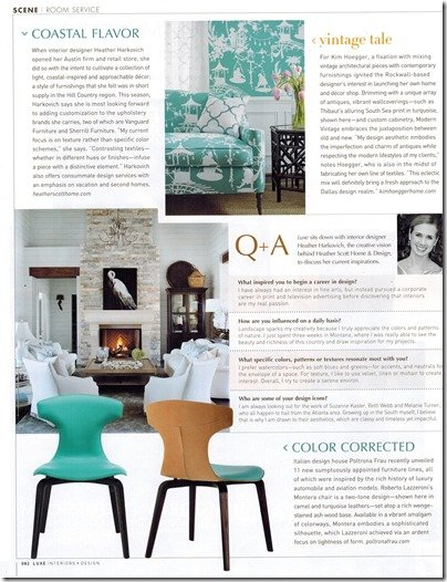 Heather Scott Home and design in Luxe magazine, question and answer