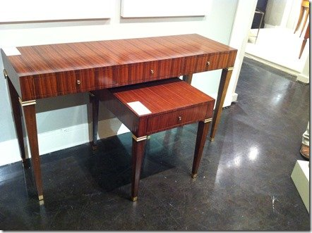 lighter wood consoles, tables