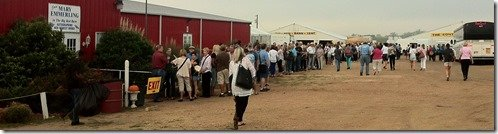 line at the big red barn