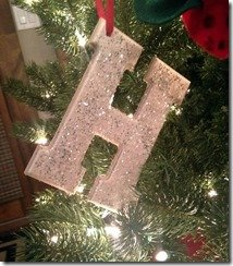 DIY christmas ornament, letter H
