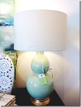 ceramic gourd lamp with linen shade